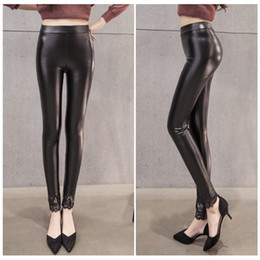 Wholesale Womens Plus Size Winter Leggings - Women Winter Pants Skinny Slim Lace Pants Warm Womens Trousers PU Casual Pants Leather with Velvet Leggings Black Plus Size