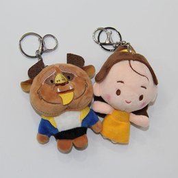 Wholesale Doll Princes - Cartoon plush dolls keychain pendant mini Belle and Adam the beast prince dolls beauty and beast figures plush toys 4.7inch