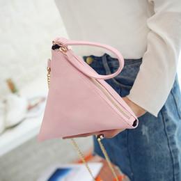 Wholesale Triangular Shoulder Bag - Wholesale-Mini Triangular Pyramid Lady Clutch Bag Small Top-handle Handbag Chain Messenger Bag Clutches and Purses Lady Elegant Tote Bag