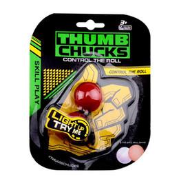 Wholesale Glow Balls Wholesale - Mixed 4 Colors Hot Thumb Chucks Yoyo Luminous BEGLERI Glow in Dark Extreme Movement Plastic Juggling Ball Anti Stress Spinner Retail Package