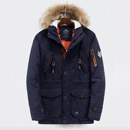 Wholesale Windbreaker Button Down - Large Size Jacket Men S Clothing Winter Long Coat Down Parkas Outdoor Outwear Overcoat Windbreaker Warm Thick Hoodies Fur Collar XXXL 2017
