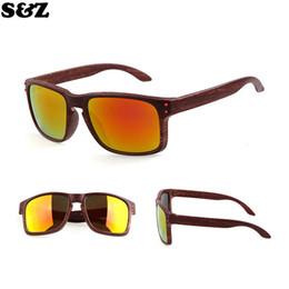 Wholesale Wood Sunglasses Wholesale - Wholesale-Hot selling Resemble Wood Sunglasses Men Sport Sun Glasses Outdoor Reflective Eyewear Wooden Gafas De Sol Oculos De Sol Feminino