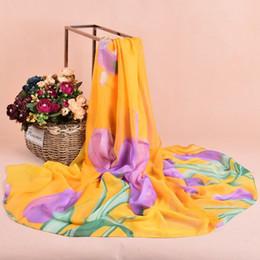 Wholesale Soft Winter Mufflers - Soft Tulip Printed Chiffon Scarfs Women Infinity Scarf Shawl Neck Scarves Wrap Winter Autumn Warm Muffler 100*180cm