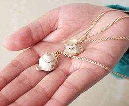 Wholesale Teapot Necklaces - teapot teakettle cup pendant double layers necklace