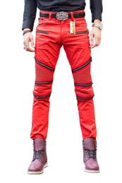 Wholesale Skinny Leg Patterned Pants - Wholesale-New Brand Designer Differ denim jeans Men's Classic Stylish Red Biker Skinny Leg Jeans Denim Pants Trousers Jeans Men