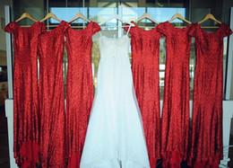 Wholesale Beautiful Dresse - Beautiful Red Long Bridesmaid Dresse Chiffon Mermaid Short Sleeves V Neck Sweep Train Custom Made Guest Dress Weeding Prom Dress