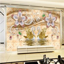 Wholesale Swan Leaf - Free Shipping Stereo Luxury Swan Gold Leaf Water Pattern Jewelry TV Background Wall Lobby Mural Custom Wallpaper