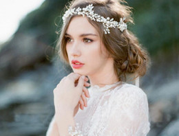 Wholesale Vine Headband - 2017 Fashion Silver Pearl Bridal Hair Vine Jewelry Handmade Wedding Headband Accessories Crystal Women cheap Headpiece