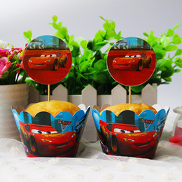 Wholesale Car Wrappers - Wholesale- Car Paper Cupcake Wrappers Topper Cake Picks Boy Kid Birthday Party Baby Shower Wedding Favor Cake Decoration Supplies 24pcs lot