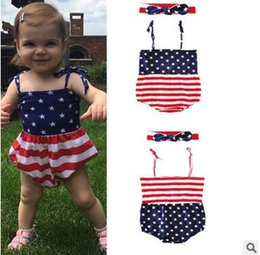 Wholesale Jumpsuits Patterns Free - American Flag Pattern Jumpsuits With Headband Two-piece Baby Girl Sleeveless Rompers Kids Summer Cotton Jumpsuits Free Shipping
