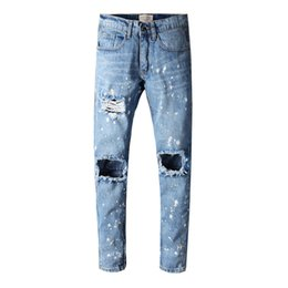 Wholesale Men Cotton Jumpsuits - Famous Brand Designer KANYE Justin Bieber Men Jeans Fear Of God Ripped Jeans Blue Rock Star For Mens Jumpsuit Designer Denim Male Pants