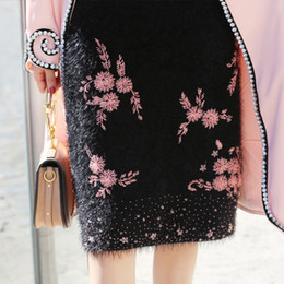 Wholesale Designer Pink Skirt - Luxury Manual Beading Lady Fluffy Skirts 2017 Autumn Winter Designer Women Soft Plush High Waist Sequin Embroidered Pink Flowers Skirts