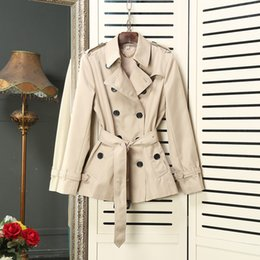Wholesale Double Breasted High Waist Shorts - High End 2017 Autumn Winter Short Style Trench Coat for Women Elegant Double Breasted Belted Windbreaker Office Ladies Outerwear