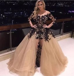 Wholesale Long Dresses Small - Sexy Prom Dress with Black Lace Appliques See Throungh Small O-neck Long Sleeve Custom made Floor Length Party Dress