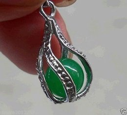 Wholesale Silver Pendant Beads Charms - Pearls and jade Tibetan silver jewelry >charming Jewellery natural green jade beads pendant Silver chain Necklaces