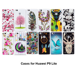 Wholesale Deer Case - For Huawei P9 Lite Cases Cool Noctilucent Lovely Butterfly Flowers Owl Feather Deer Design Strong TPU