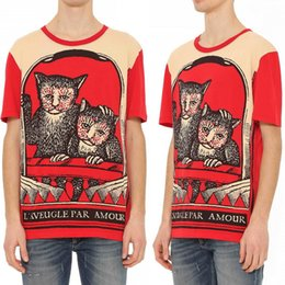 Wholesale Tee Shirt Red Collar - Cat Printed T-Shirt Male 100% Soft Cotton Leisure T-Shirts 2017 Fashion Casual Tee Round Collar Slim Fit