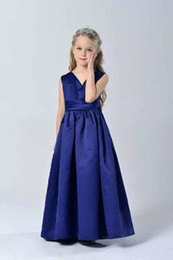 Wholesale Natural Sapphire Free Shipping - Fashion elegant sapphire blue wedding party kid girls formal dresses evening gown free shipping in stock
