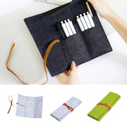 Wholesale Wool Pouches - Wholesale- High Quality Women Cosmetic makeup brush bag Wool Felt Pencil case Pen Organizer Stationery pouch large capacity Storage bag B