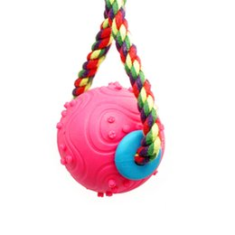 Wholesale Spiky Balls - Interesting red color spiky shape ball interactive pet toy cotton rope knot TPR dog pets toy