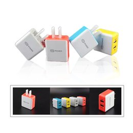 Wholesale Computers Chargers - Top Colorful Square 5V 2.1A Dual USB US Charger Charging Adapter For Apple Samsung Any Phone Tablet Computer DHL
