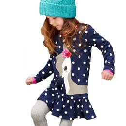 Wholesale Wholesale Dresses For Little Girls - Autumn Winter Dress for Girl Children Christmas Lovely Little Fawn Dots dress 2017 New arrival 2T 3T 4T 5T 6T European style