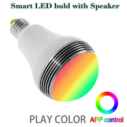 Wholesale App Controlled - Bluetooth Wireless Speaker Smart Led Bulb App control color E27 5W Lamp LED Light with Mini Speaker Newest type