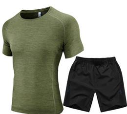 Wholesale Badminton Uniforms - Men's sports suit running clothes fitness short-sleeved moisture quick-drying t-shirt five pants sportswear badminton uniforms