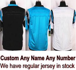 Wholesale Newton White - Custom Carolina Football Jersey Any Name Cam Newton McCaffrey Christian Benjamin Luke Kuechly Black Blue White Shirt Men Skating Dresses