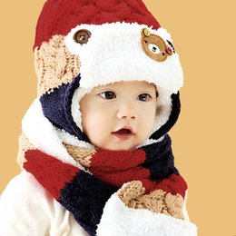 Wholesale Hat Scarf Bear Pink - Children Baby Winter Hat Adorable Bear Printed Patchwork Crochet Pom-Pom Beanie with Scarf Christmas Gift