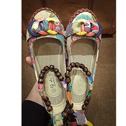 Wholesale Beaded Embroidered Fabric - 2017 New Handmade Beaded folk style embroidered shoes with flat Dichotomanthes flat soft non slip bottom mother shoes