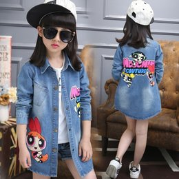 Wholesale Long Sections Trench Coats - Kids Girls Denim Jacket 2017 Spring New Children's Clothing Fashion Slim Long Sections Trench Coat Cartoon Kids Outerwear