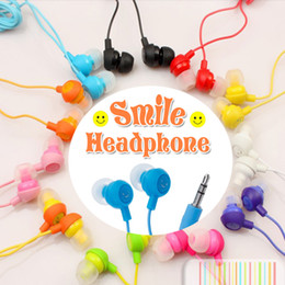 Wholesale Stereo Colorful Earphone - 3.5mm Universal Fruit Smile Colorful Earbuds In-Ear Stereo Headphones Earphones Compatiable With SmartPhone For iphone Samsung ipad MP4 MP3