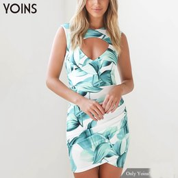 Wholesale Zip Front Mini Dress - Wholesale- YOINS Summer 2017 New Vintage Women Floral Printed Bodycon Dress Sexy V-neck Sleeveless Wrap Front Mini Dress Zip Back Vestidos