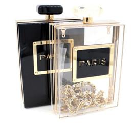 Wholesale Designer Women Perfume - 2017 Fashion Perfume Bottles Acrylic Chain Shoulder Bags Brand Women Luxury Cosmetic Bag Designer Cards Holder Purse Wallet