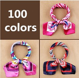 Wholesale Hotels Bank - Wholesale-New fashion women's Work wear silk scarf print satin square scarf hotel bank work wear scarf 60*60cm 100 colors