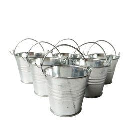 Wholesale Cheap Favor Boxes Wholesale - D6*H5CM Cheap Metal mini Pail Tin bucket Rustic Succlents Pots Decorative Galvanized Iron pots Party Favor
