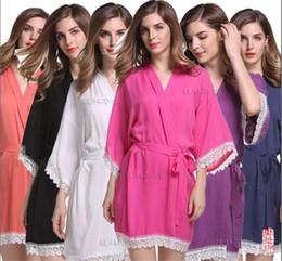 Wholesale Short Sleeve Sleepwear Robe - Solid Cotton Kimono Robes With Lace Trim Women Wedding Bridal Robe Short Belt Bathrobe Sleepwear M044