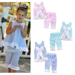 Wholesale Grid Girls Clothing - INS Baby Grid Set Kids Girl Lattice Outfits Petals Side Big Bow Vest +Pants 2 pcs Set Baby Clothes 3 Colors Free Shipping