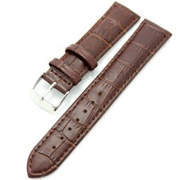 Wholesale Womens Watch Clasp - Wholesale-Brown 20mm Width Genuine Leather Wrist Watch Strap Christmas Gift Mens Womens + 2 Spring Bars
