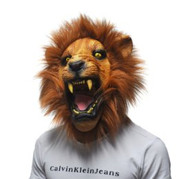 Wholesale Latex Lion Mask - Wholesale- Halloween Props Adult Angry Lion Head Animal Masks Latex Full Party Silicone Rubber Masks