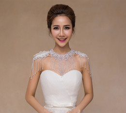 Wholesale Tassel Beading - Lace Capped Sleeves Women' Shoulder Chain For Any Occassion Beading Tassel Bridal Wraps Wedding Jewelry Bridal Accessories