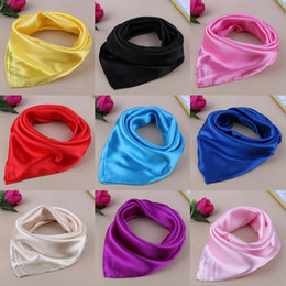 Wholesale Scarf Kerchiefs - 60*60cm NEW 23 Pure Colors Satin Small Silk Scarf Solid Colors Small Imitation Scarf Gorgeous Kerchief Women Business Attire Mix Colors NWW7