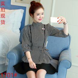 Wholesale Korean Lady S Shirt - New Spring Women's Striped Blouses Korean Fashion Stand Collar Ladies Casual Shirt Long Sleeve Lantern Sleeve Tops Blouse