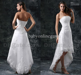 Wholesale Dhgate Red Wedding Dress - 2017 Sexy DHgate Hot Selling Strapless Hi-lo Mini Little White Summer Beach A-line Wedding Dresses with Crystals