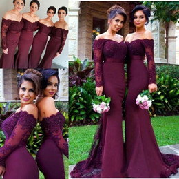 Wholesale Black Maid Shirt - 2018 Burgundy Maroon Mermaid Bridesmaid Dresses Off Shoulder Long Sleeve Lace Beads Cheap Custom Made Bridesmaids Maid of Honor Dress