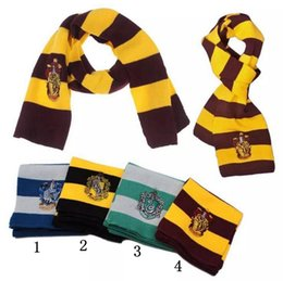Wholesale College Scarves - Harry Potter Gryffindor Series Scarf With Badge Cosplay Knit Scarves Halloween Costumes College Scarf 4 Styles OOA2308
