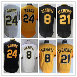 Wholesale Willie Stargell - 1990 Pittsburgh Throwback Jerseys 21 Roberto Clemente Jersey #24 Barry Bonds 8 Willie Stargell Jerseys 1997 Baseball Jerseys White Pullover
