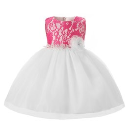 Wholesale Toddlers Outfit For Summer - Wholesale- Newborn Baptism Dress For Girl Baby Frocks White Chiffon Toddler Girl Christening Gown Infant First Birthday Party Baby Outfits