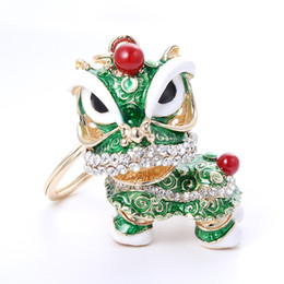 Wholesale Chinese Lions - Free Shipping Special Chinese Folk Mascot Lion Dance Creative Enamel Metal Keyrings Gift For Women Girls Mascot Jewelry ZA2943